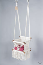 baby swing chair in macrame - ivory color - red pillow - two hanging points - studio photo