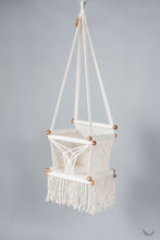 baby swing chair in macrame - ivory color - without pillow - studio photo