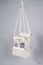toddler swing chair in macrame - ivory color - blue pillow - studio photo