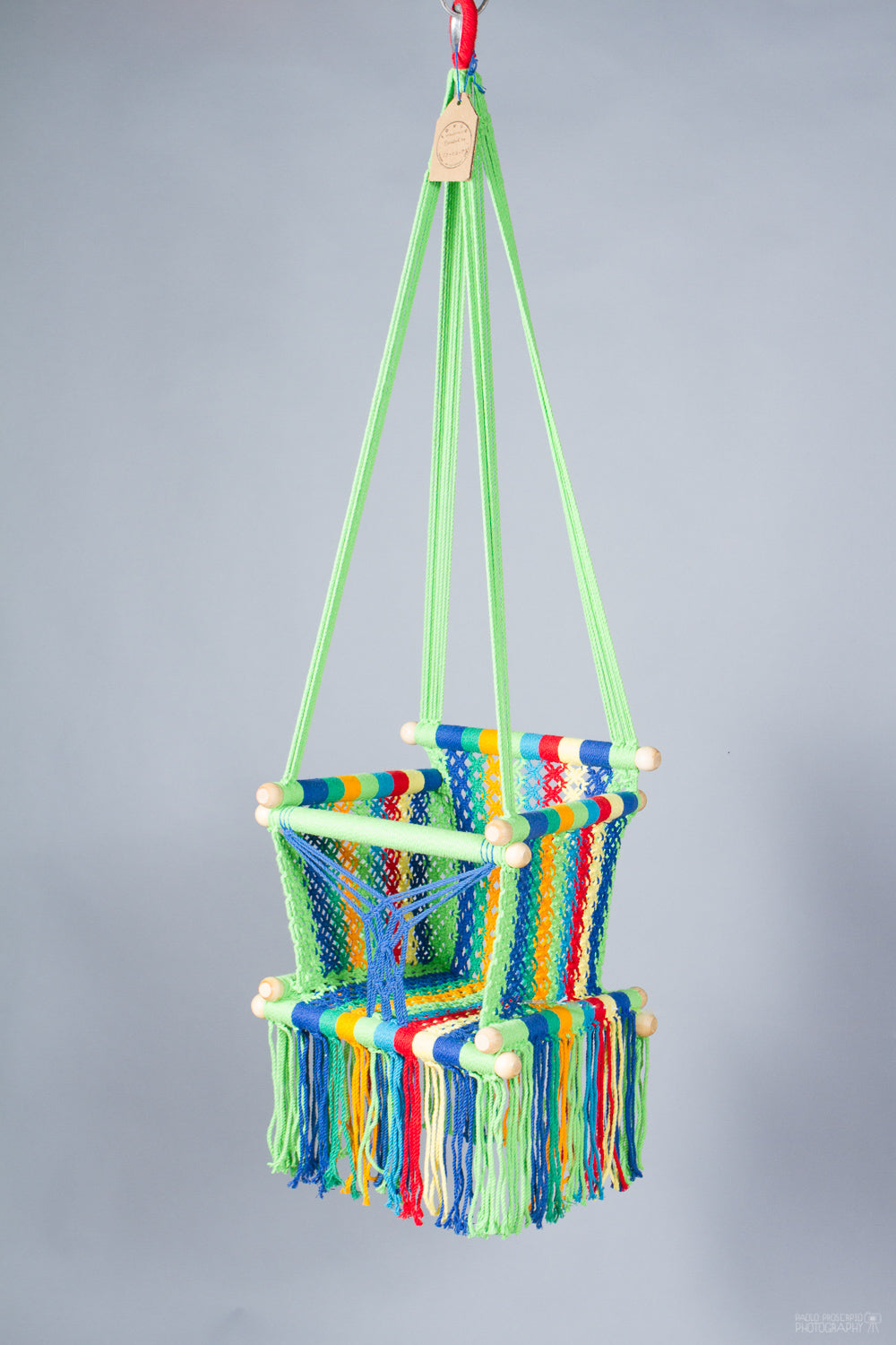 Baby Swing Chair in different multicolor / light wood (made on order)