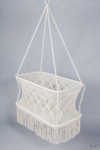More Hanging Bassinets in Macrame - Wicker base - Handmade in Nicaragua