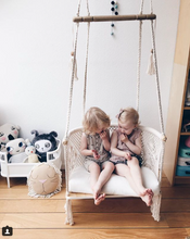 macrame hanging chair - indoor- with two kids