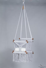 baby swing chair in grey - ivory cushion - studio picture