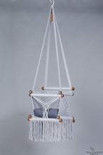 baby swing chair in grey - blue navy cushion - studio picture