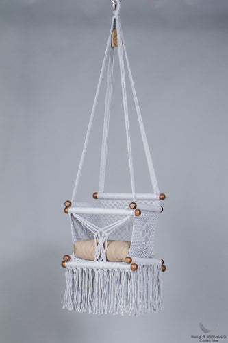 baby swing chair in gray - khaki cushion - studio picture