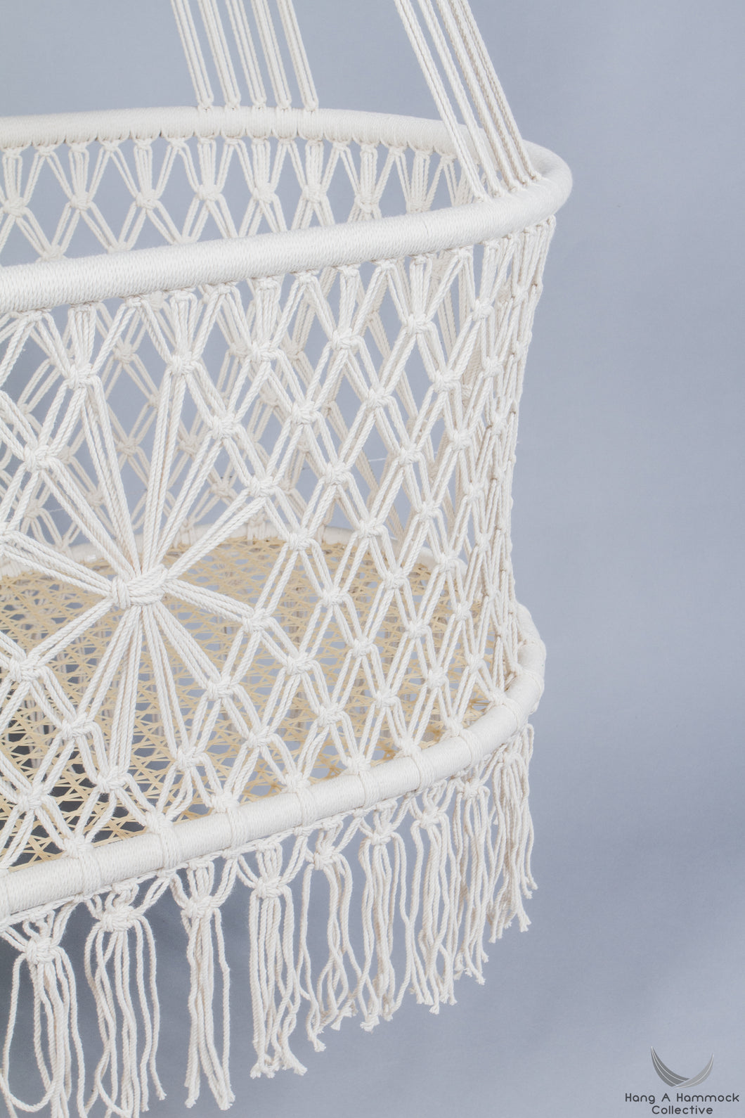hanging Bassinet - handwoven base detail - studio picture