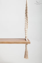 Braided Rope Swing - detail of the timber seat - professional picture - white backgorund