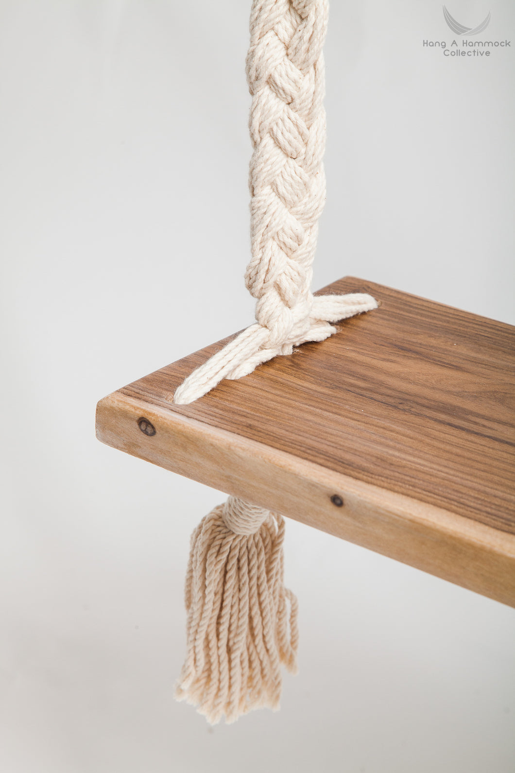 Braided Rope Swing - detail of the timber seat - professional picture - white background