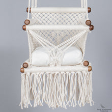 baby swing chair in macrame - ivory color - cream cushion - studio photo