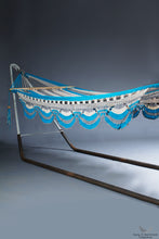 hammock crochet fringe model Nicaragua Kipla - Cream, grey & turquoise - studio photo - vertical