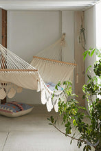indoor handwoven hammock with plants near by