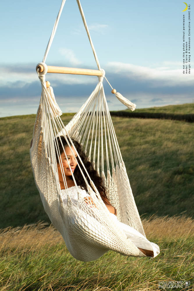 relaxing on a hanging chair