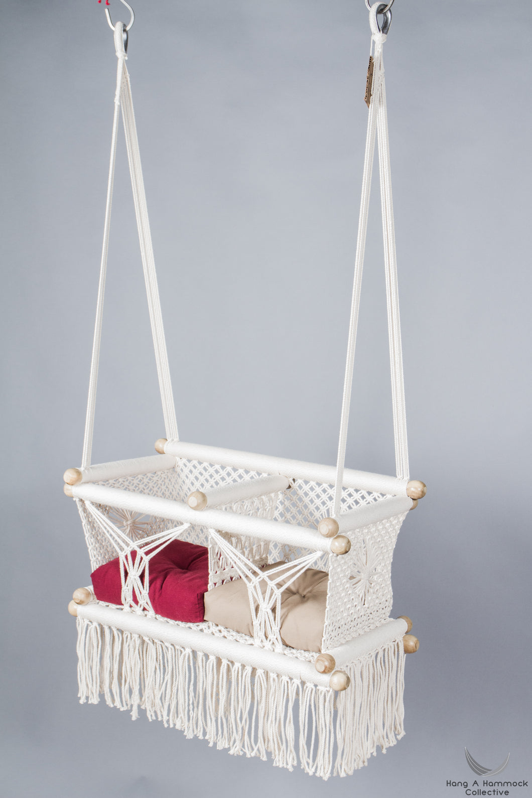 twins baby swing chair in macrame -two hanging points - ivory color - catalog photo