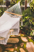 Yucatan hammock in a green house - detail of the macrame trim