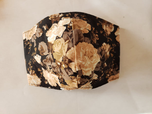 Taupe floral on Black Mask