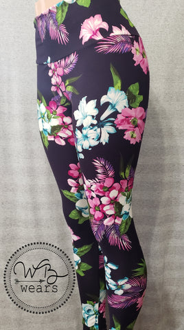 Tropical floral on purple leggings - WB Wears