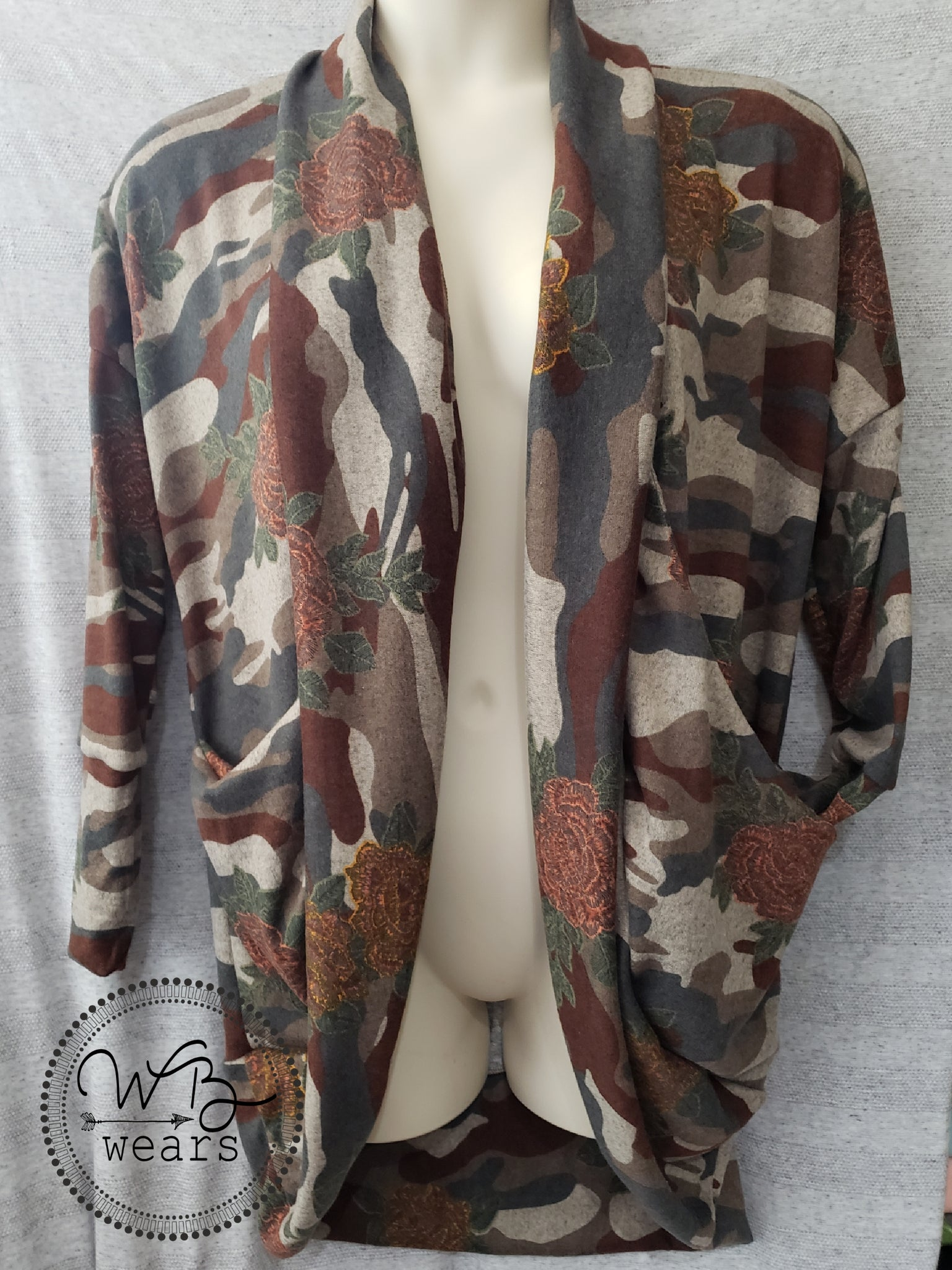 Camo Floral Cocoon Cardigan - Large - WB Wears