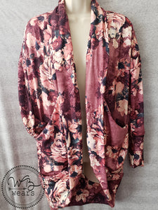 Mauve floral cocoon cardigan - WB Wears