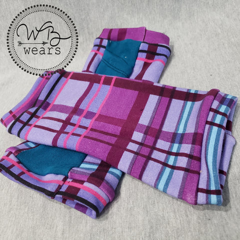 Purple plaid fingerless gloves - WB Wears