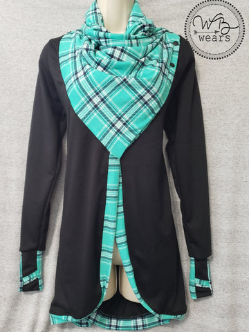 Plaid Scarf Neck Cardigan - WB Wears