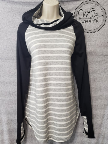 Hooded Raglan Tunic-black sleeve - WB Wears