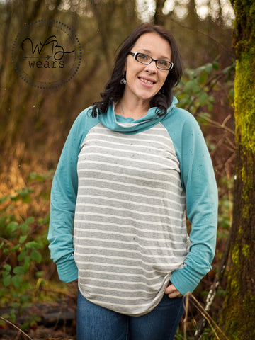 Hooded Raglan Tunic- Sage sleeve - WB Wears