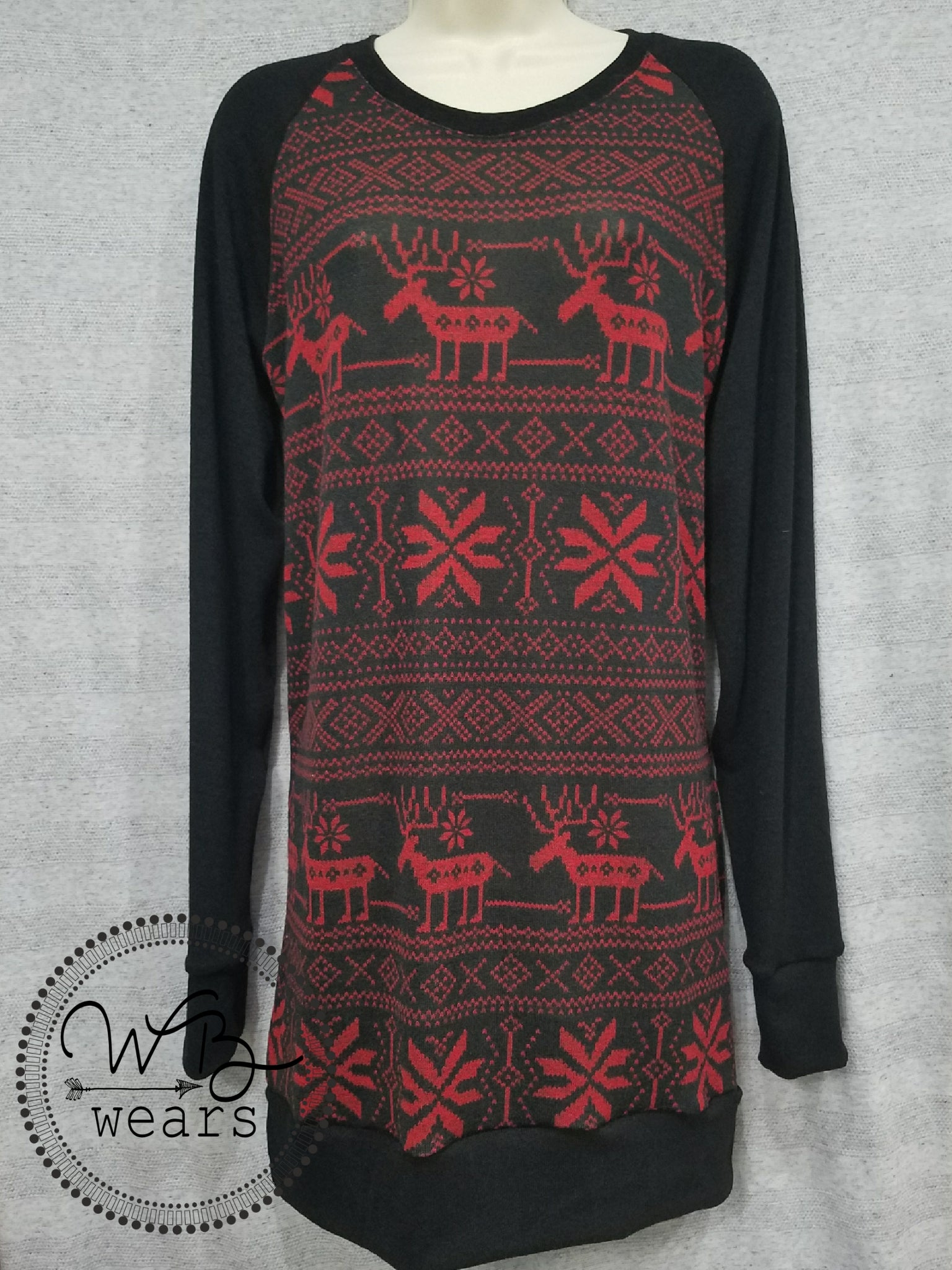 OOAK Raglan Christmas Sweater - WB Wears