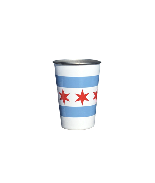 Chicago Flag Stainless Steel Pint Cup - 4 pack plus bag