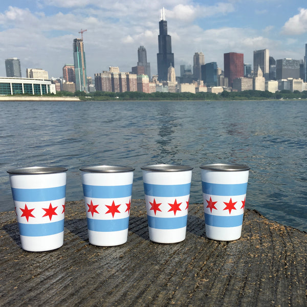 City of Chicago flag stainless steel pint cup set of 4