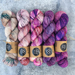 5 Skein fade on little sister (Le Pouf sweater kit)