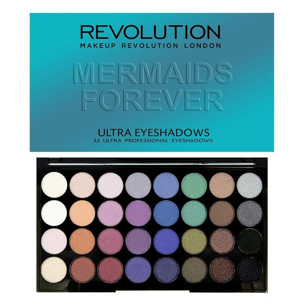 Makeup Revolution Ultra 32 Eyeshadow Palette Mermaids Forever, Eyeshadow, Makeup Revolution, Ronaghans Pharmacy , [variant_title], [option1], [option2], [option3].Makeup Revolution Ultra 32 Eyeshadow Palette Mermaids Forever - Ronaghans Pharmacy