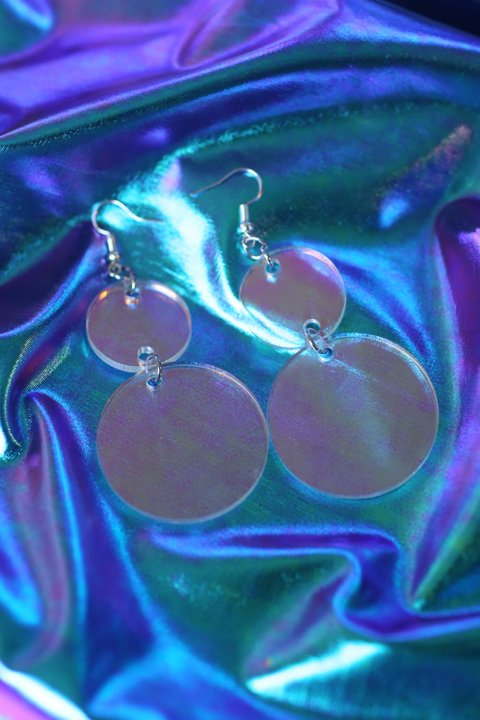 Lightweight and comfortable laser cut holographic double circle drop earrings by artist Amada Miller