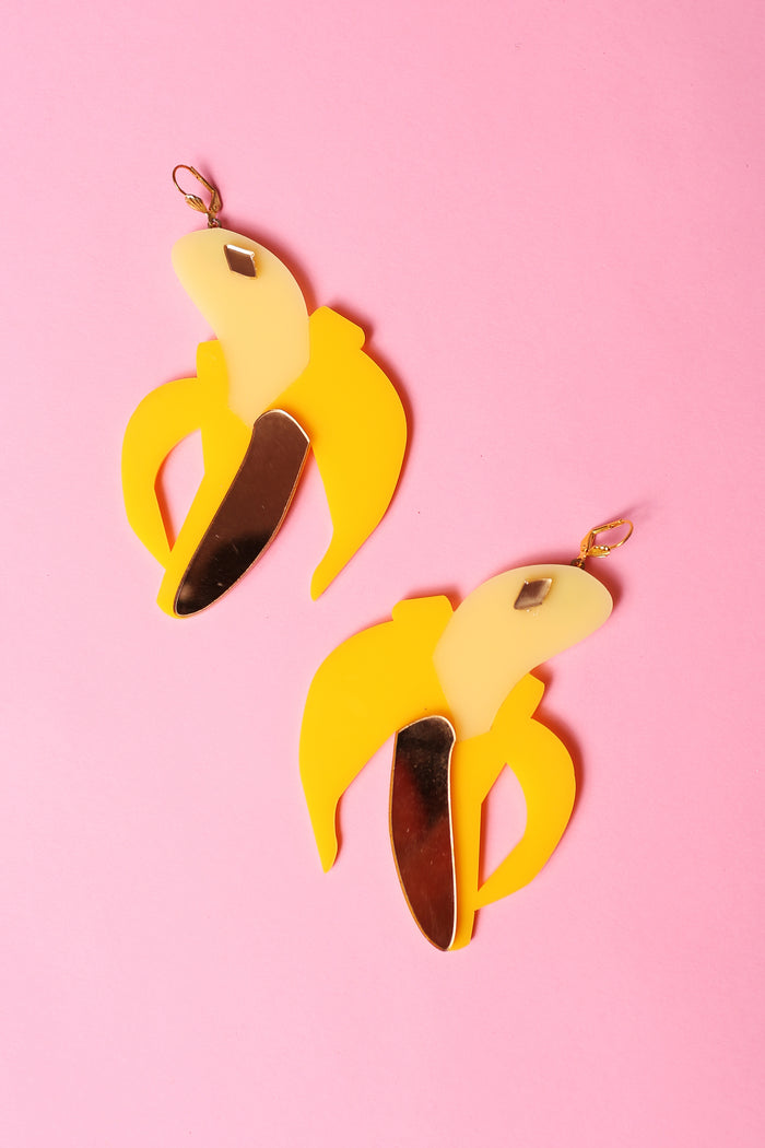 Marina Fini plexiglass laser cut banana earrings