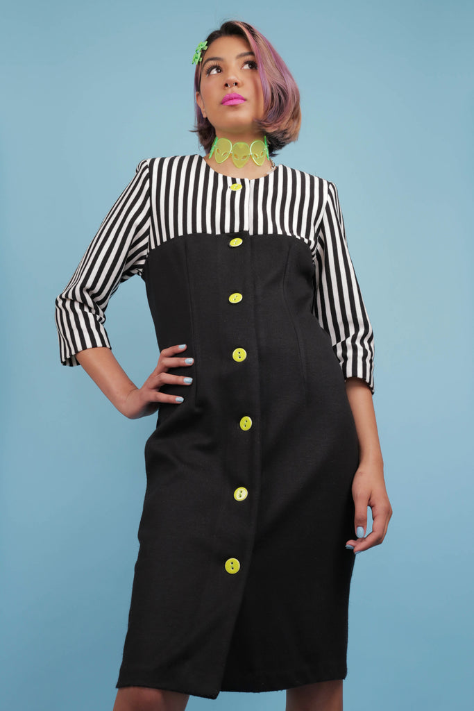 Vintage 90's Beetlejuice inspired striped dress with new lime green buttons