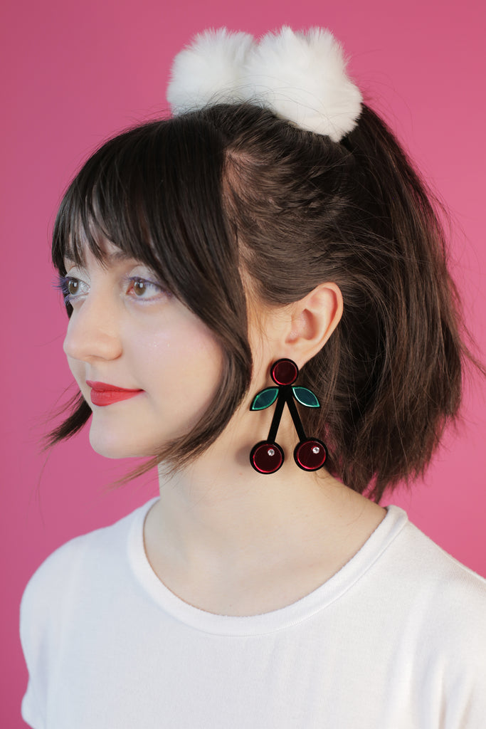 Jennifer Loiselle handmade perspex laser cut cherry crush earrings