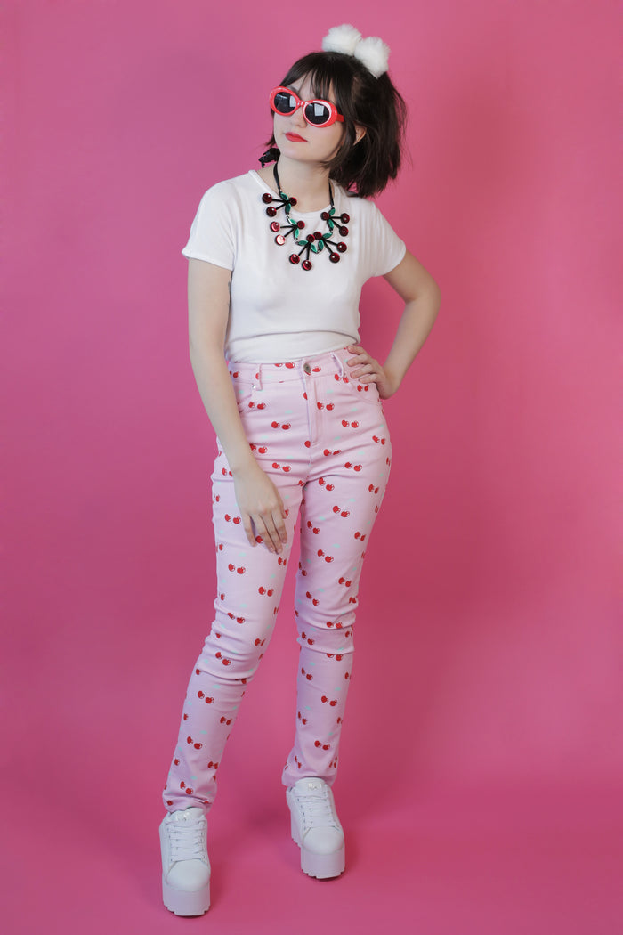 High Waisted Pink Cherry Print Hayley Elsaesser Jeans
