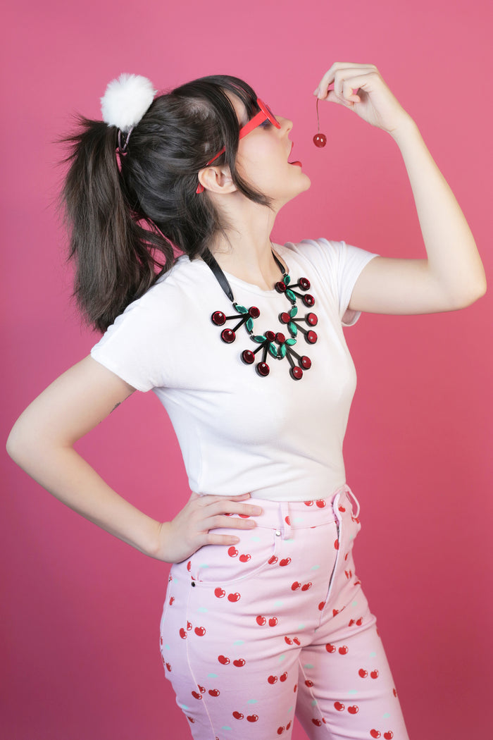 Jennifer Loiselle perspex handmade cherry crush necklace