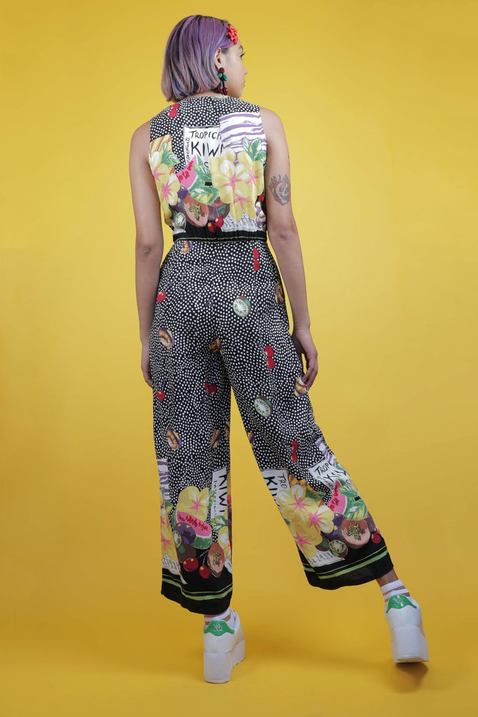 90's fruit salad print jumpsuit