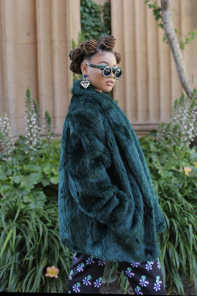 90's Green Faux Fur Jacket