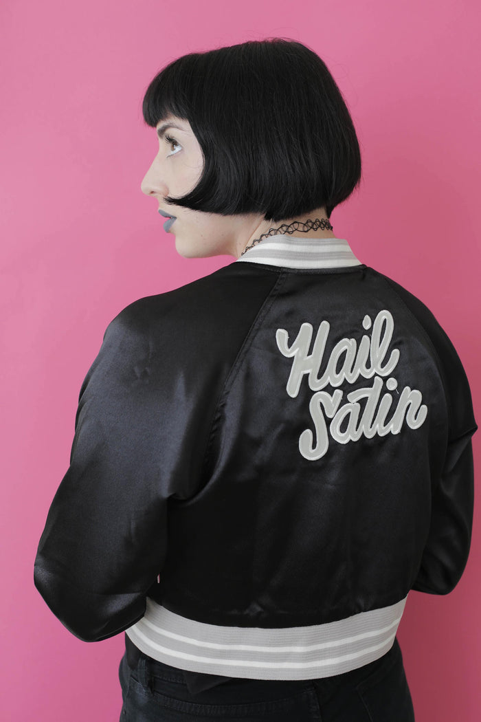 Black Tuesday Bassen Hail Satin Cropped Bomber Jacket