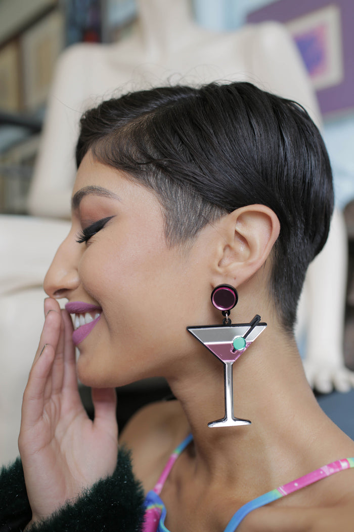 Jennifer Loiselle handmade laser cut martini earrings