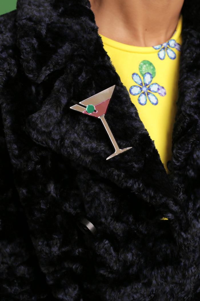 Make It A Double Martini Brooch