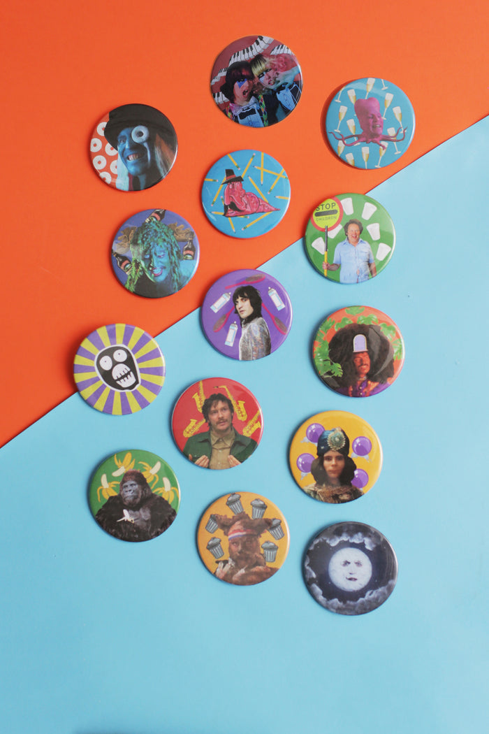 A set of The Mighty Boosh Buttons