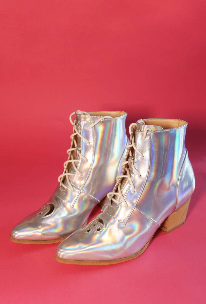 🌙⭐️Holographic Moon + Stars Boots🌙⭐️