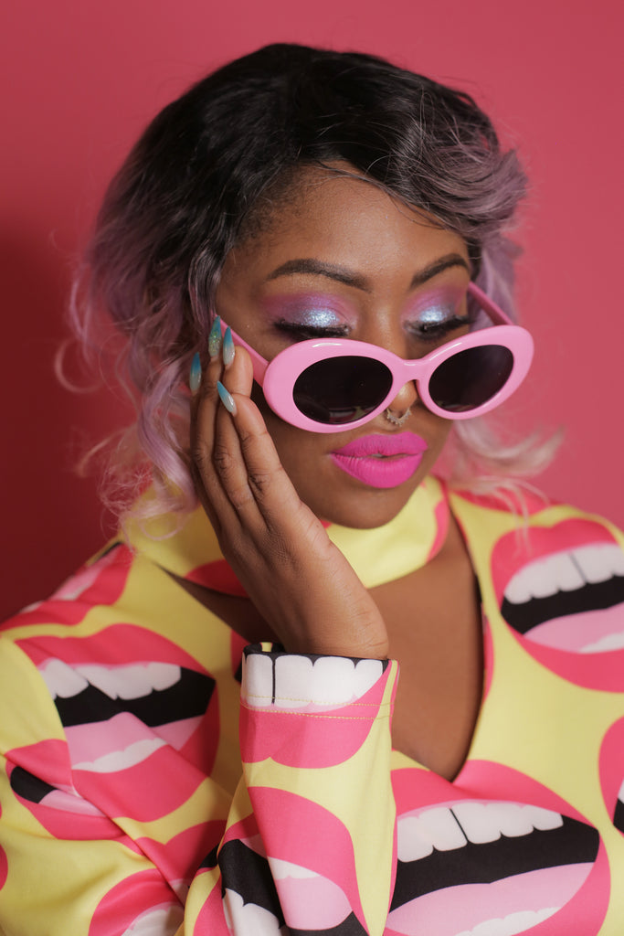 Shiny pink frames with black lenses Cobain style sunglasses by Grunge Glasses