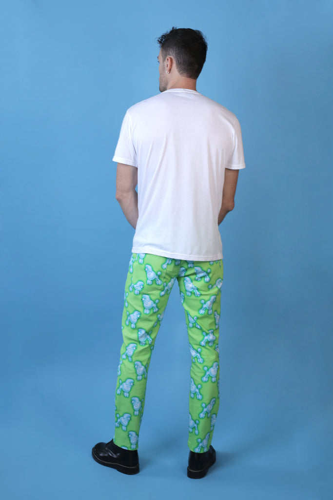Lime green and blue poodle print unisex Hayley Elsaesser jeans