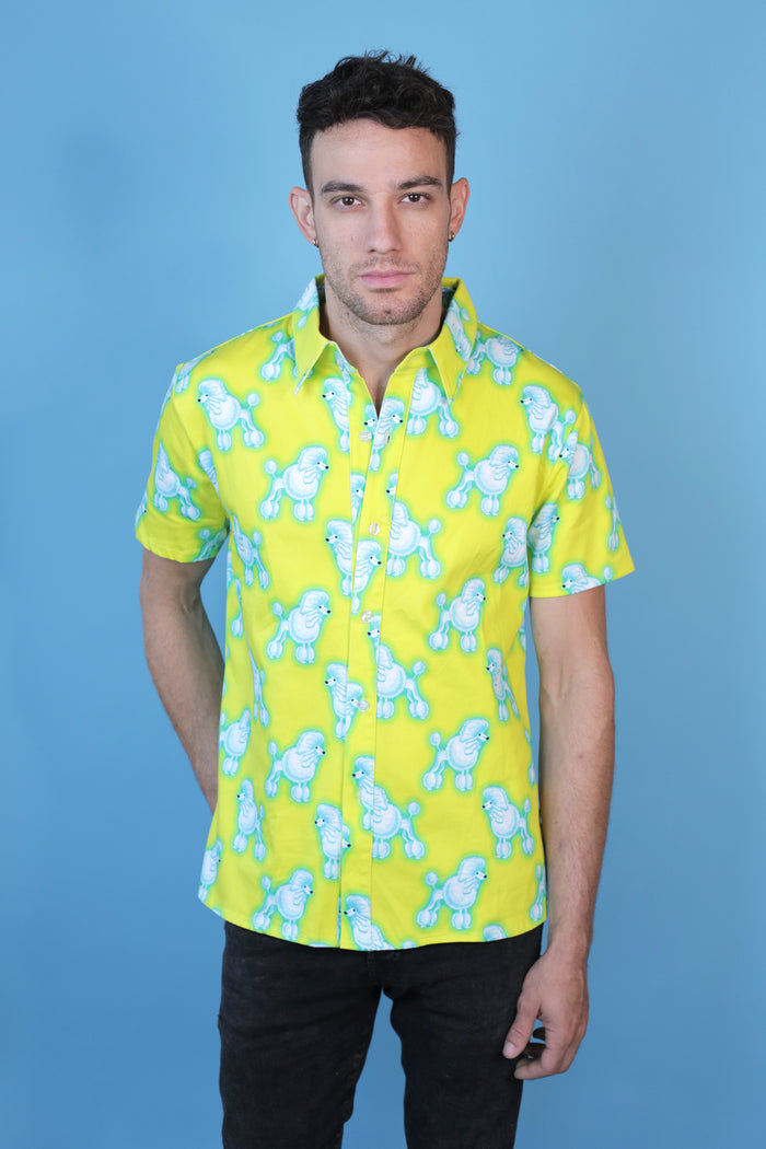 Yellow and blue all over poodle print unisex Hayley Elsaesser Button up