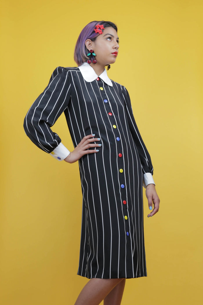 Vintage black pinstriped dress with Peter Pan collar and new primary colored buttons