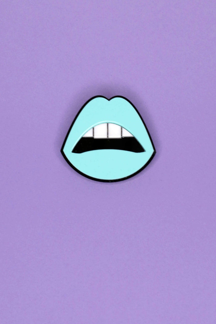 Jennifer Loiselle Laser cut Perspex mouth pin in aqua blue