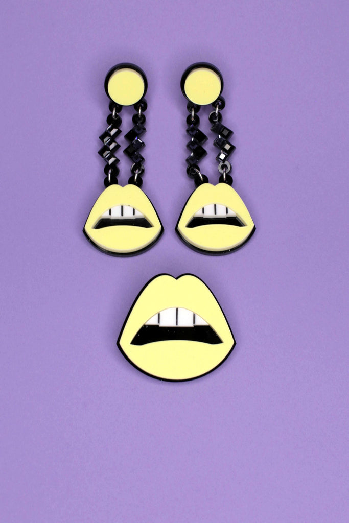 Jennifer Loiselle Laser cut Perspex mouth pin in pastel yellow